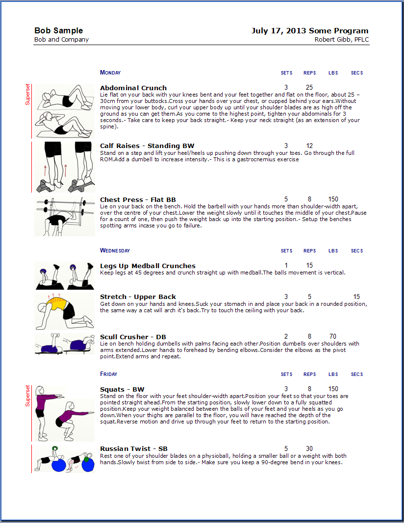 Exercise prescription software or exercise program worksheets